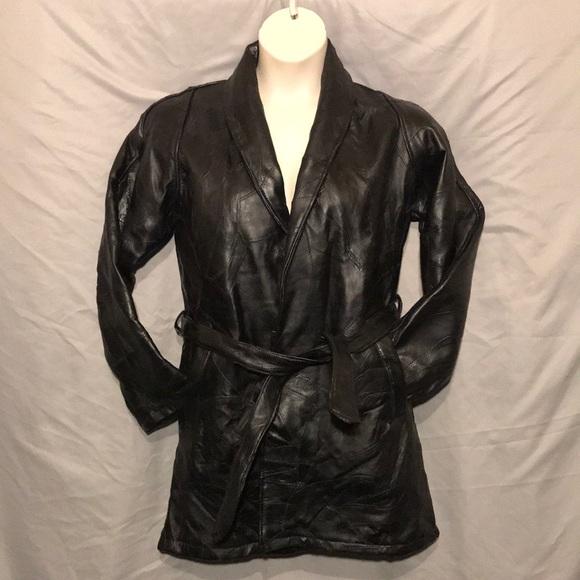 Jackets & Blazers - Italian mosiac lambskin leather jacket tie waist
